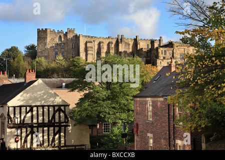 Durham castle, now Durham University College, seen from Crossgate, Durham City, Co. Durham, north east England, - Stock Photo