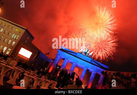 Fireworks over the Brandenburg Gate, Berlin, Germany - Stock Photo