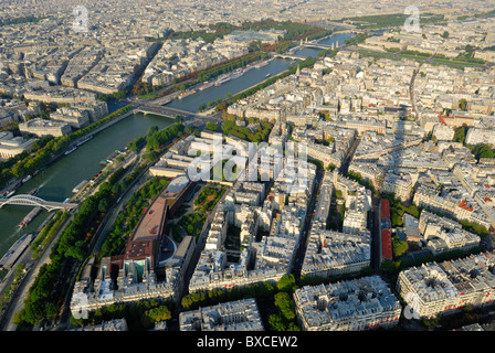 Northeast view of Paris city from the Eiffel Tower looking towards the River Seine. - Stock Photo