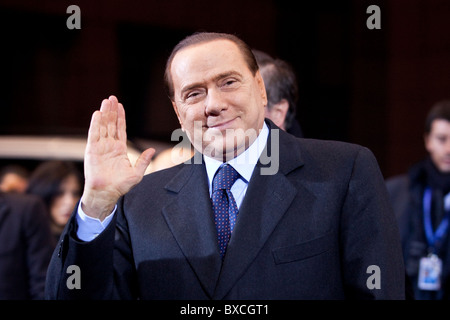 Italian prime minister Silvio Berlusconi arrives to the EU Summit on 16 december 2010 - Stock Photo