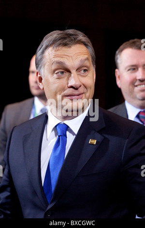 Hungarian Prime Minister Viktor Orban arrives at the European Council summit today 16 december 2010 in Brussels - Stock Photo