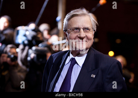 President of the European Central Bank Jean Claude Trichet arrives to the EU Summit on 16 december 2010 - Stock Photo