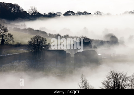 Misty December Morning at Shaftesbury in Dorset - Stock Photo