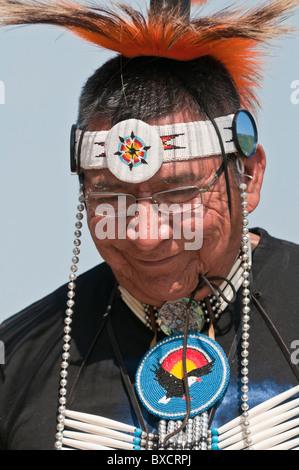 Adult male dancer, Pow-wow, Blackfoot Crossing Historical Park, Alberta, Canada - Stock Photo