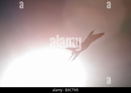 Blue Angels F/A-18 Fighter from out of the sun. - Stock Photo