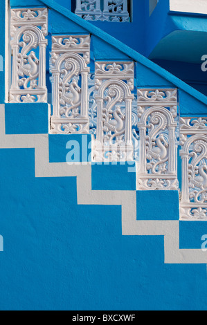 Colourful indian concrete stairs and balustrade. Andhra Pradesh, India