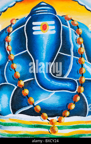 Stylized modern Lord Ganesha painting on the wall of a rural indian village school. Andhra Pradesh, India - Stock Photo