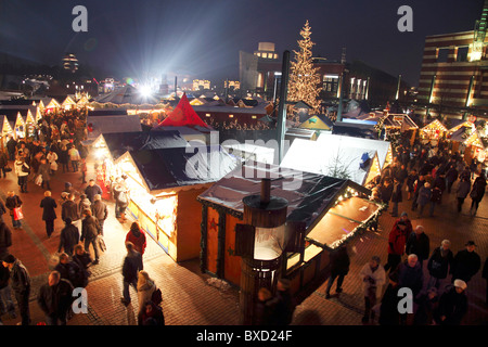 Traditional Christmas market, with many decorated booths, at Centro shopping mall, Oberhausen, Germany. - Stock Photo