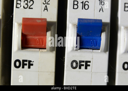 domestic fuse box close up trip switches circuit breakers close up of fuse box stock photo