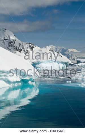 Pack ice and icebergs, Antarctica. - Stock Photo