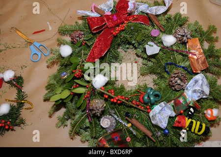Wreath, made at the Battery Park City Parks Conservancy's wreath-making workshop on Dec. 11, 2010. - Stock Photo