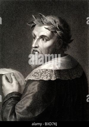 Ludovico Ariosto (1474-1533) Italian Poet. Portrait, (c18th Engraving) - Stock Photo