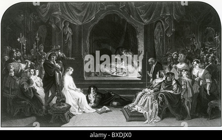 HAMLET The play scene engraved by Charles Rolls after the 1842 painting by Irish artist Daniel Maclise (1806-1870) - Stock Photo
