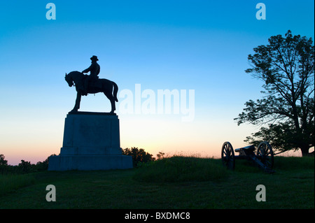 Statue of major general Oliver Howard on east cemetery hill - Stock Photo
