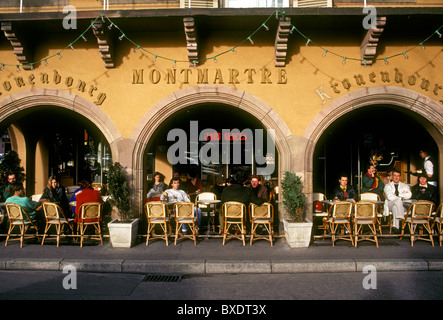 French people, tourists, eating, outdoor cafe, restaurant, French food, French food and drink, French cuisine, Strasbourg - Stock Photo