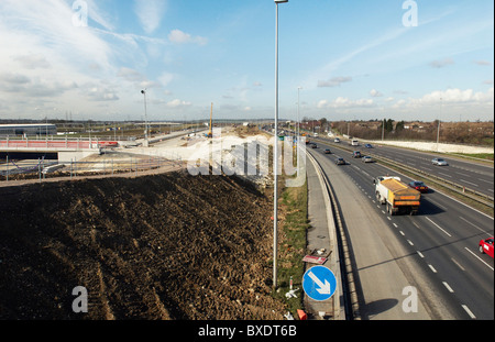 Junction upgrade of A2 near Bean Kent UK - Stock Photo