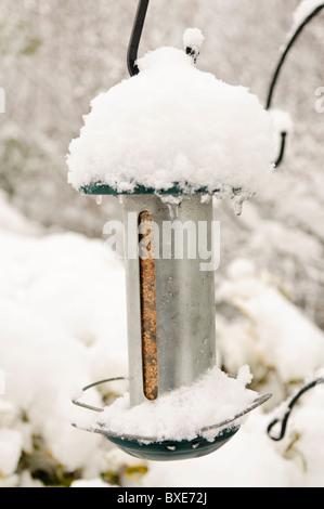 Snow covered bird seed feeder - Stock Photo