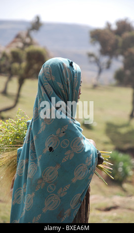 a young girl in a village in the Simien mountains of Ethiopia - Stock Photo