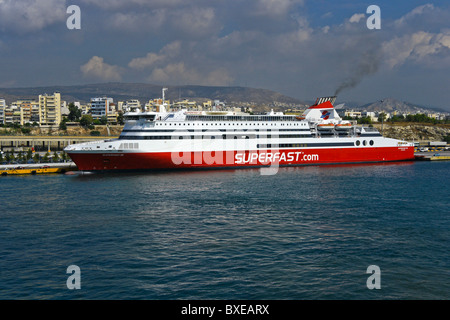 Superfast Ferries car ferrry Superfast XII berthed in Piraeus Harbour Greece - Stock Photo