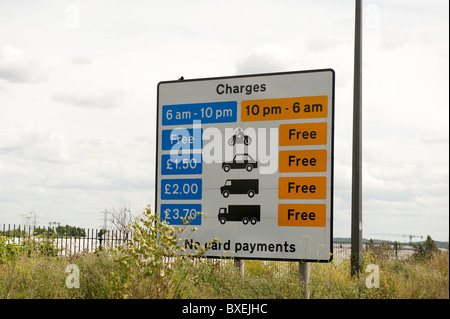 Toll Tariff Sign Dartford Crossing - Stock Photo