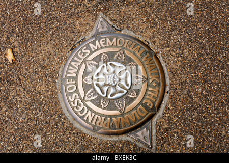 Plaque for the Diana Princess of Wales Memorial Walk, Hyde Park, London - Stock Photo