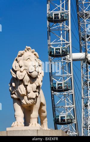 The Southbank Lion and British Airways London Eye, London, UK - Stock Photo