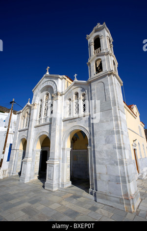 Marble facade of Agia Paraskevi Orthodox church, in the village of Isternia situated on the Greek Cyclade island - Stock Photo