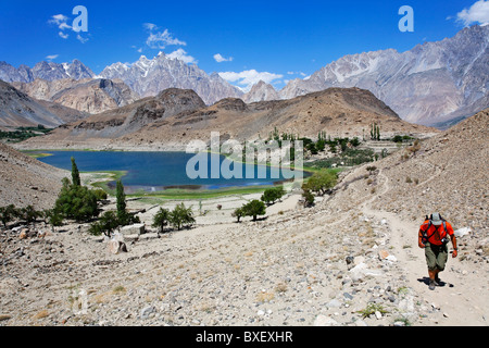 Pakistan - Karakorum - Hunza Valley - Passu - Borith Lake and mountains - Stock Photo