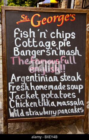 Tourist menu on a Blackboard in Gurko street in Veliko Turnovo in Bulgaria - Stock Photo