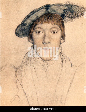 Sketch by Hans Holbein the Younger; Portrait of Henry Howard, Earl of Surrey, Colour Illustration; - Stock Photo