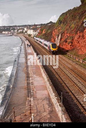 Southwest Railway line at Dawlish, UK - Stock Photo