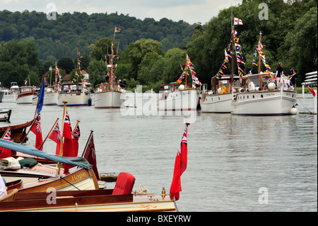 Parade of Dunkirk Little Ships at Henley-on-Thames Traditional Boat Rally - Stock Photo
