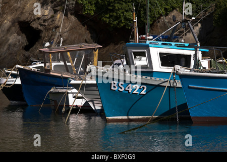 Fishing boats in Newquay Harbour Cornwall - Stock Photo