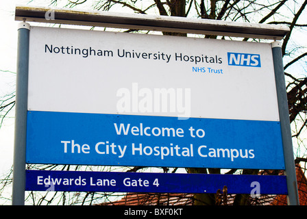 The welcome board outside one of the Edwards Lane entrances to Nottingham City Hospital,Nottinghamshire, England, - Stock Photo