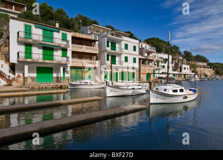 Cala Figuera harbour with fishing boats houses and villas, Mallorca Balearic Islands Spain - Stock Photo