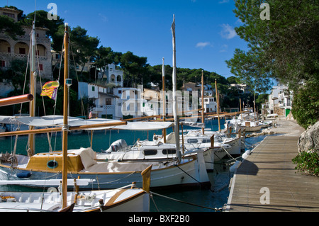 Cala Figuera harbour with fishing & sailing boats houses and villas, Mallorca Balearic Islands Spain - Stock Photo