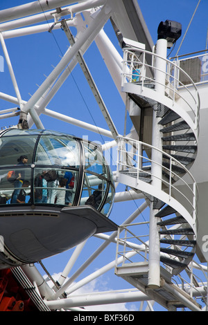 London Eye Ferris wheel detail with a spiral staircase and pod. - Stock Photo