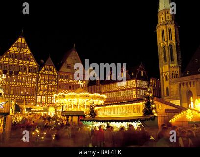 Christmas market, Romer Square, Frankfurt, Germany - Stock Photo