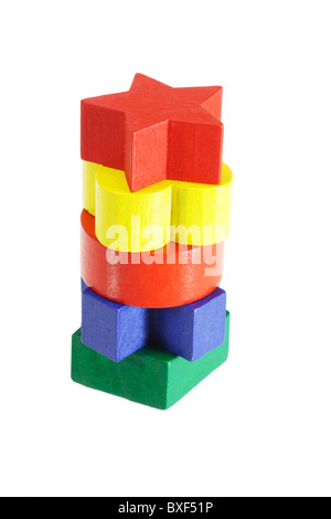 Stack of colorful wooden blocks on white background - Stock Photo