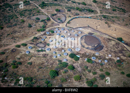 Aerial view of a typical Zulu Homestead near Tulela Ferry. KwaZulu Natal, South Africa. - Stock Photo