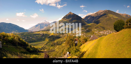 Valley view from the town of Scena, Trentino Alto Adige, Italy - Stock Photo