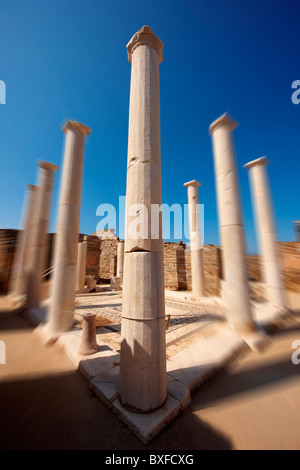 Columns of the House of Dionysos in the ruins of the Greek city of Delos, the birthplace of the twin gods Apollo - Stock Photo