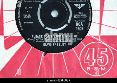 Elvis Presley's 1966 record 'Please Don't Stop Loving Me'. - Stock Photo