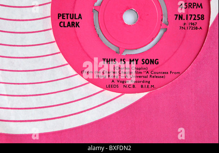 Petula Clark's 1967 single 'This is my Song' - Stock Photo