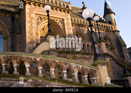 Winter sunlight reflecting on the side entrance of the McManus Art gallery in Dundee,UK - Stock Photo