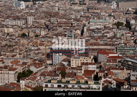 Panorama of the city from Church Notre Dame de la Garde, Marseille, France - Stock Photo