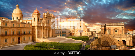 Restored Baroque Cathedral of San Nicolo - Noto, Sicily - Stock Photo