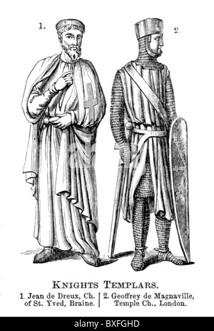 Knights Templar; Jean de Dreux (John Braine) and Geoffrey de Magnaville; 12th century; Black and White Illustration; - Stock Photo