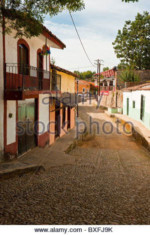The colonial town of Copala in the Sierra Madre Mountains near Mazatlan, Sinaloa, Mexico - Stock Photo