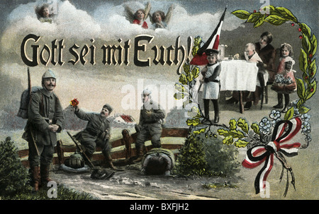 first world war (WWI), soldiers and their families at home, patrotic picture postcard, Germany, 1916, Additional - Stock Photo